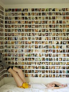 Teenager's bedroom wallpapered with Polaroid pictures More