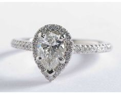 1 Carat Diamond Pear Shaped Halo Diamond Engagement Ring | Blue Nile Engagement Rings