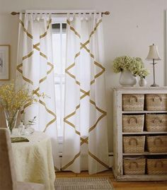If you like the fact that sheers let in a lot of light and allow privacy but find them boring and plain, add strips of ribbon to the curtain in an attractive design. Trimming with ribbon, buttons and such are an easy and clever way to give plain sheers and curtains a custom look or decorative finish.