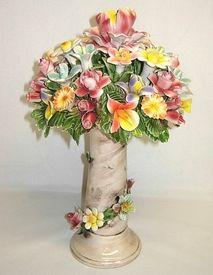 "13"" Capodimonte Flower Basket on Column"