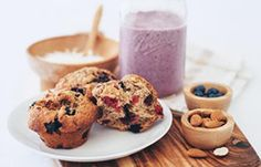Gluten free berry nice muffins are packed full of juicy raspberries and blueberries, and perfect popped in a lunchbox or enjoyed with a hot drink.