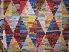 Strip quilting but then make diamonds. Need to try this.