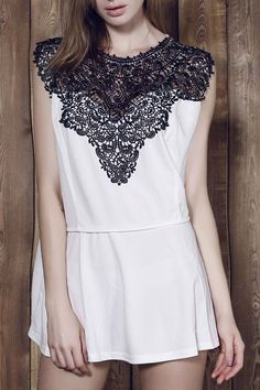 Women's Trendy Sleeveless Lace Splicing Pleated Plus Size Blouse #CLICK! #clothing, #shoes, #jewelry, #women, #men, #hats, #watches