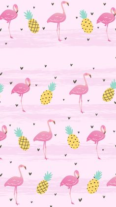 Wallpaper Flamingo Tropical Pink by Gocase, abacaxi, flamingo, rosa, coração, hearts, pineapple, wallpaper, papel de parede, cute, girly, #lovegocase, #wallpaper, #papeldeparede, #background, #flamingos, #abacaxi