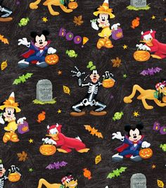 Disney Mickey and Friends Halloween Fun by Springs Creative fabric Mickey Halloween, Halloween Themes, Halloween Fun, Haunted Halloween, Halloween Fabric Crafts, Halloween Quilts, Mickey Mouse Wallpaper Iphone, Disney Wallpaper, Cellphone Wallpaper