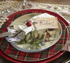Layer up with holiday plates & a cozy flatware sleeve.