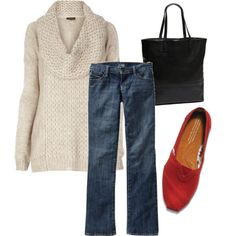 Cream sweater, red shoes, dark denim, black purse. Finally a simple outfit to wear my red flats with. Need to find cute cream sweater!