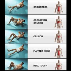 Different crunches to target different ab muscles!
