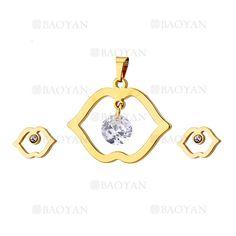 juego colgante y aretes deboca con cristal de dorado en acero inoxidable-SSSTG954638