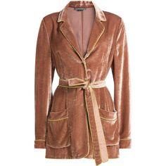Alberta Ferretti Velvet Blazer (50.890 RUB) ❤ liked on Polyvore featuring outerwear, jackets, blazers, rose, blazer jacket, velvet blazer, velvet jacket, pink jacket and collar jacket