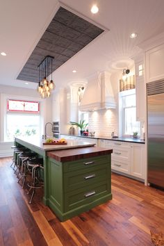 Kitchen Island Green 10 green kitchens that aren't afraid to stand out | walker zanger