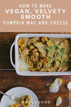 Candice Kumai's vegan mac and cheese recipe Pumpkin Mac And Cheese, Vegan Mac And Cheese, Superfood Recipes, Vegetarian Recipes, Healthy Recipes, Fall Recipes, Snack Recipes, Protein, Eating Vegetables