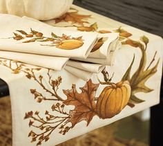 Harvest Pumpkin Table Runner #potterybarn - Candidate for replacing the side board runner.