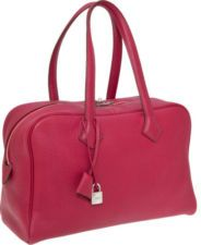 Hermes Rubys Clemence Leather Victoria Bag with Palladium Ha...