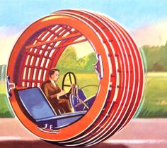 transport of the future 1960s retro future vision - Check out the size of that steering wheel!