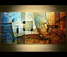 "The Bridge of Dreams Original Abstract Modern Painting 48"" x 24"" by Paula Nizamas Ready to Hang Ready to ship"