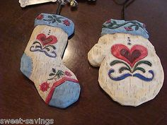LOT 2 JIM SHORE Christmas Ornaments STOCKING & MITTEN with TAGS