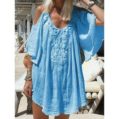 2019 New Summer Bohemian Dress Pure Color Lace Stitching Loose Casual Dress Short Sleeved Chiffon Lace Beach Dress Women Color WHITE Size S Bohemian Summer Dresses, Beach Dresses, Fashion Seasons, Vacation Dresses, Chic Dress, Blouse Styles, Cotton Dresses, Types Of Sleeves, Short Sleeve Dresses