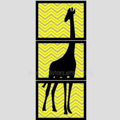 Chevron Giraffe Triptych Giclée Prints - Minimalist Wall Art Unframed, Perfect for a Baby Nursery or Shower or a Living Room. $42.00, via Etsy.
