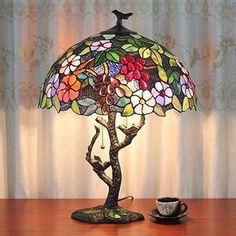"""16"""" Винтажный цветочный дерево Тиффани настольная лампа 2 фары витражные абажур"""