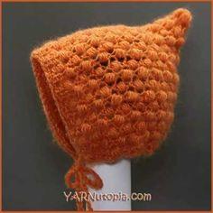 Crochet Tutorial: Pixie Puff Baby Bonnet https://www.freecrochettutorials.com/tutorials/yarnutopia-array-crochet-tutorial-pixie-puff-baby-bonnet/