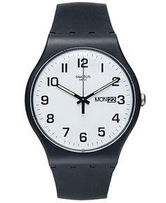 Swatch Watch, Unisex Swiss Twice Again Black Silicone Strap 41mm SUOB705