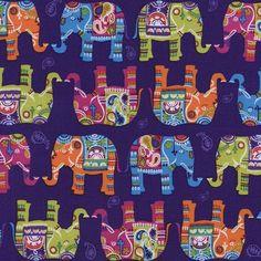 Fabric... Elephants on Purple by Timeless Treasures
