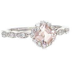 Palladium Asscher Morganite Engagement Ring White Sapphire Halo Custom Bridal Jewelry