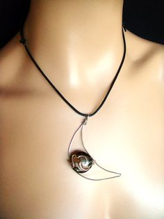 Wire Wrapped Moon Necklace glass lampwork bead OOAK by vess65, $22.00