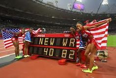 Jeter, Felix, Madison, & Knight break world record and win Gold in 4x100 meter relay