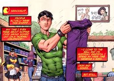 Haha, Tim in the mall. I say that to myself every time.... :D << YES TRUTH FACT and also he's wearing a Green Lantern t-shirt. Because...Tim.