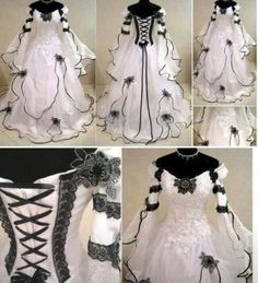 Details about MEDIEVAL WEDDING DRESS GOTH HANDFASTING LARP WICCA COSTUMRE WITCH…