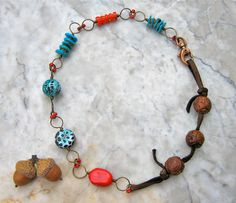 coral and turquoise necklace  . . . by marthasrubyacorn on Etsy, $64.00