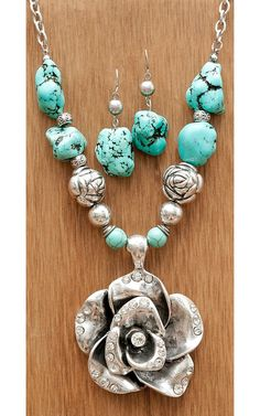 b1cc54cea2e Wear N.E. Wear® Large Silver Rose w  Silver Beads   Turquoise Jewelry Set