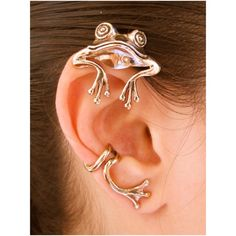 Frog Ear Wrap  Frog Ear Cuff  Bronze Curious Frog by martymagic