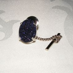 Tie Pin or Tack in Sterling Silver featuring Super Sparkly Blue Goldstone  £25.00
