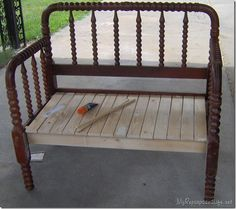 how to make twin spool headboard bench out of a jenny lind twin bed - Jenny Lind Twin Bed