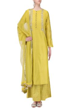 KAIA BY GARIMA AND PANKAJ Yellow Mirror Embroidered Kurta with Palazzo Pants Set. Shop Now! #kaiabygarimaandpankaj #ethnic #yellow #mirror #embroidered #plazzopants #straightkurta #chanderi #handembroidery #suit #indianfashion #indiandesigners #perniaspopupshop #happyshopping