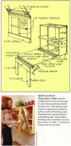 Como aprovechar los pequeños espacios para tener una mesa y espacio de almacenamiento. Planos