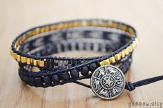 24k Gold Plated // Black Leather Wrap Bracelet // by Gomeow, $36.50