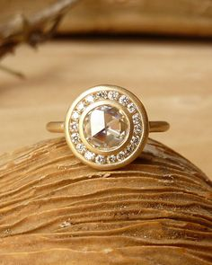 Rose Cut Moissanite and Channel Set Diamond Halo Ring