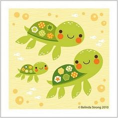 Turtles!  Would look great at the party and to then be hung on the baby's wall...
