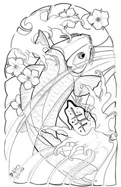 tattoo drawings | Koi Half Sleeve By Patoink On Deviantart - Free Download Tattoo #33870 ...