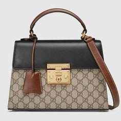 c9cf7d24ee1b Padlock GG Supreme top handle bag Structured Handbags, Gucci Bags, Gucci  Purses, Gucci