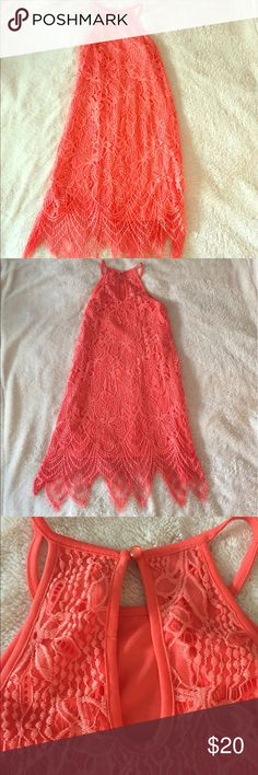 love FIRE Coral Dress- NWOT NWOT love FIRE Coral Dress. Size Medium. Total length is 36 inches. Never worn. Keyhole back with single button closure. No trades, offers welcome! love FIRE Dresses Midi