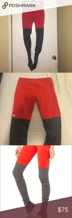 ALO Yoga Res Goddess Leggings NWOT Description in last picture. NWOT. SO cute and flattering! Never worn. Red and charcoal gray. ALO Yoga Pants Leggings