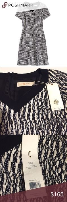 • Tory Burch • NWT Tory Burch dress. A classic sheath. Navy and white marbled tweed. V-neck and short sleeve. Zipper up the back. Size 12.                                               ❌Trades  💯Authentic  ❌PayPal  💕Discounts on Bundles  ✅Offers Welcome  🙋Yes to Questions Tory Burch Dresses