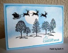 CAS Santa and Sleigh with Trees - CAS94 by FubsyRuth - Cards and Paper Crafts at Splitcoaststampers