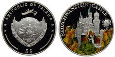 """5 долларов, Палау 2010. """"Мир чудес"""". Замок Нойшванштайн. Памятная серебряная монета из серии """"Мир чудес"""", с изображением замка Нойшванштайн в Германии. Decorative Plates, Coins, Rooms"""