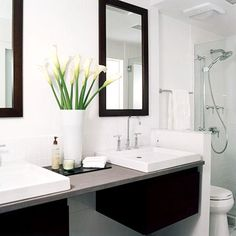 Modern Redo-I wont be able to do two sinks, but what a cool idea for bold accents!
